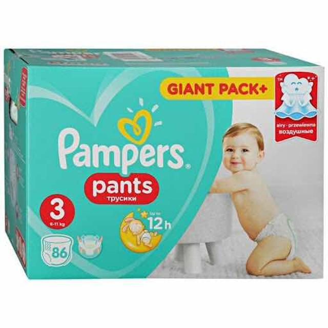В наличии Pampers pants трусики 3 (6-11 кг.) в упаковке 86 шт. Доставка по центру бесплатно
